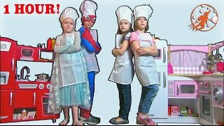 Kids Kitchen Compilation Video - 1 Hour with Twins, Superheroes, & Kidkraft Kids Toy Kitchen