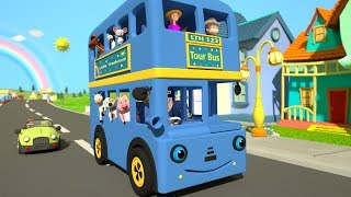Blue Wheels On The Bus | Kindergarten Nursery Rhyme Color Song | Cartoon for Kids | Little Treehouse
