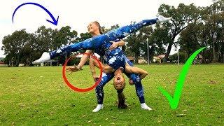 Gymnastics/ Acro HANDCUFFED TO MY TWIN Challenge! | The Rybka Twins!