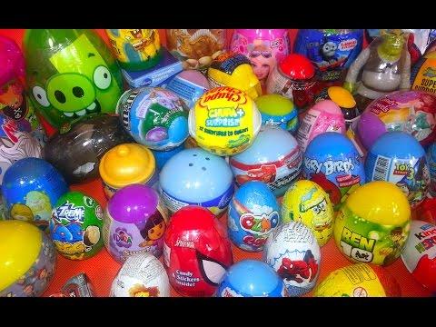 70 Kinder Surprise Eggs Super Mega Clip Dora ToyStory3 Shrek Angry Birds by TheSurpriseEggs