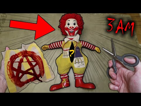 SCARY CUTTING OPEN HAUNTED RONALD MCDONALD DOLL AT 3 AM WHAT IS INSIDE RONALD MCDONALD