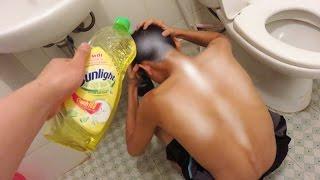 Trò Đùa Gội Đầu Với Nước Rửa Bát Sunlight - Shampoo Prank