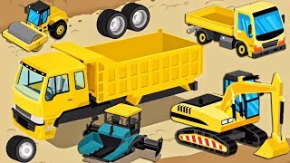 Construction Trucks - Cartoon, Game for Children | Excavator Tricks - Learm Videos for Kids