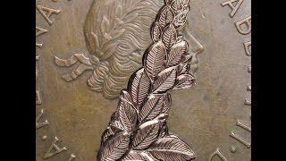 'Equinox' Hand Engraved 1967 Elizabeth British Penny Hobo Nickel by Shaun Hughes