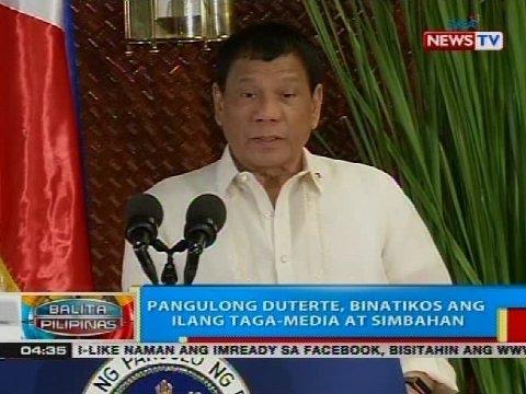 BP: Pangulong Duterte, binatikos ang ilang taga-media at simbahan
