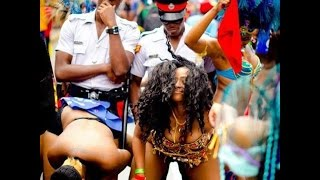 Police Dance with Woman at Carnival in Jamaica 2017