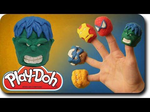Finger Family Rhymes Hulk Vs Play Doh Superhero Cartoon | Marvel Avengers Spider Man Nursery Rhymes