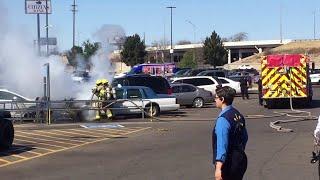 Burning Car in Parking Lot || ViralHog