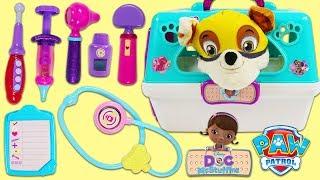 PAW PATROL Super Pup Rubble Visits Disney Jr Doc McStuffins Pet Vet Toy Hospital for a Check Up!