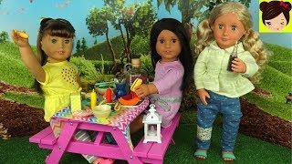 Muñecas American Girls Picnic en el Parque - Juguetes Accesorios y Comida Para Muñecas