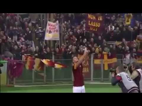 Totti celebrating his goal taking a selfie with fans HD