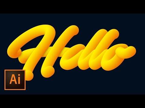 Create Advanced 3D Vector Tube Script Text in Illustrator with Custom Text & Blend Tool