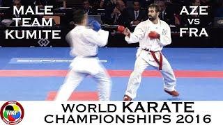 BRONZE (2/4) Male Team Kumite AZE vs FRA. 2016 World Karate Championships
