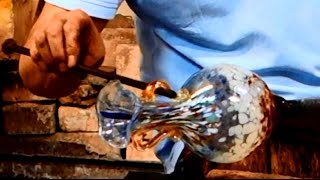 Murano Glass Blowing of a Flower Vase with 2 handles