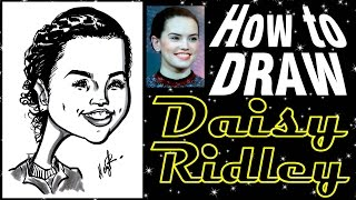 How To Draw A Quick Caricature Daisy Ridley Star Wars Rey