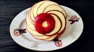 How To Make An Apple Rosette | Apple Art | Fruit Carving Garnish | Party Food Decoration