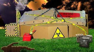 BOX FORT APOCALYPTIC BUNKER! *CAUGHT ON FIRE*
