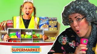 Ruby Pretend Play Shopping for Greedy Granny in Grocery Store Super Market Toys