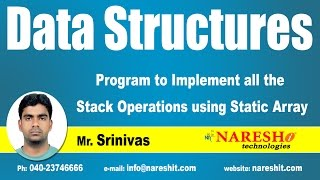 Program to Implement all the Stack Operations using Static Array | Data Strucutres Tutorial