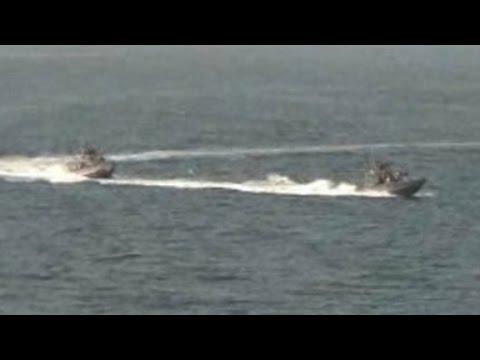 watch U.S. Navy fires warning shots against Iranian vessel