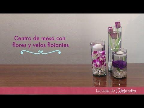 Centro de mesa con flores y velas flotantes DIY centerpiece with flowers & floating candles