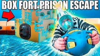 24 HOUR BOX FORT PRISON ESCAPE ROOM UNDERWATER!! 📦🚔 Underwater Box Fort Building & More!