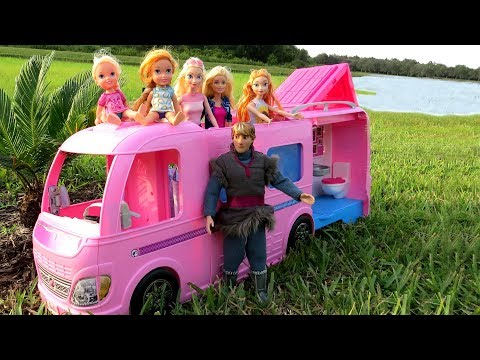 Xxx Mp4 CAMPER Elsa Anna Toddlers Go Camping With Barbie Built In Pool Play Picnic 3gp Sex