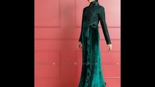 En Güzel Tesettür Kadife Elbise Modelleri