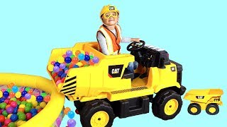 Ivan Unboxing and Assembling Dump Truck Tractor Ride-On Toy Construction Video for Children