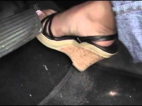 Pedal action Hard Cranking flooring sexy wedge high heels with french toes