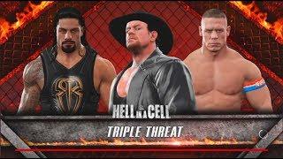 Undertaker vs Roman Reigns vs John Cena: Hell In A Cell Match-WWE-2K17- Gameplay