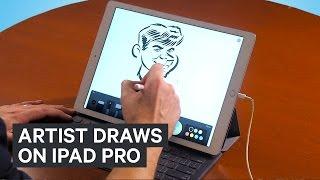 Artist draws on iPad Pro