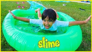 SLIME Water Slide for Kids H2O Slip N Slide Inflatable toy!!!