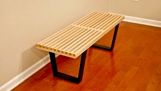 DIY Mid-Century Modern Slatted Bench - Woodworking