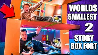 WORLDS Smallest TWO Story Box Fort 24 Hour Challenge 📦 Fortnite, Beyblades, Xbox One & More!