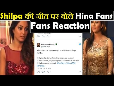Hina Fans Reaction After Shilpa Winning Bigboss 11   Hina Fans On Shilpa Winning Bigboss