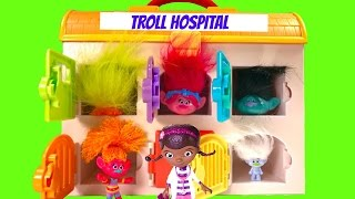 Trolls Poppy Branch Guy Diamond in the Hospital and Need Doc McStuffins Help wiht Toy Surprises