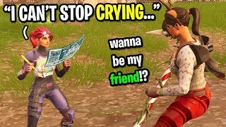 9 year old kid starts CRYING after I add him on Fortnite... (EMOTIONAL!)