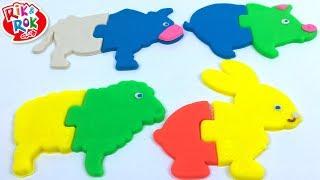 ROMPECABEZAS DE PLASTILINA - APRENDE LOS ANIMALES DE LA GRANJA VACA PERRO CERDITO Y OVEJITA