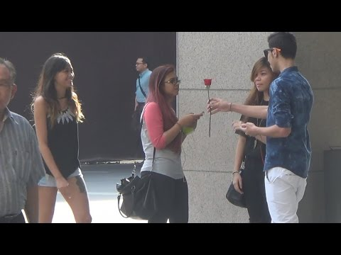 Almost giving flowers to girls - Prank