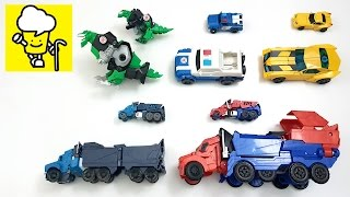 Transformer stop motion for kids with Optimus Prime Grimlock Bumblebee Robots in Disguise