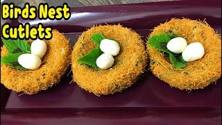 Chicken Ka Birds Nest Cutlets / Birds Nest Snacks By Yasmin's Cooking Ramadan Recipe