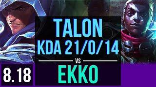 TALON vs EKKO (MID) | KDA 21/0/14, Legendary | Korea Diamond | v8.18
