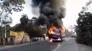 Live Bus Accident In Bangladesh (Public Bus Caught On Fire in Bogra)