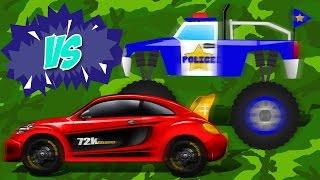Sports Car VS Police Monster Truck | Car & Truck | Race Battle | Kids Game