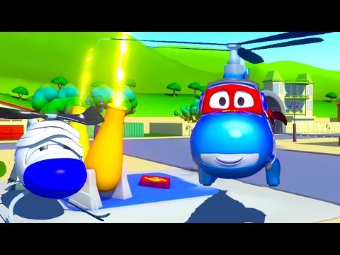 Carl el Super Camión y el Helicóptero en Auto City 🚁 Dibujos animados para niños