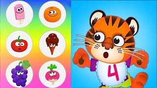 Kids Learn Colors, Math, Numbers with Funny Food 2 Fun Educational Games for Toddlers