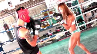 Thai Woman With Abs of Steel Kickboxing Destroying Male