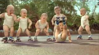Evian water advert for rollerskating babies