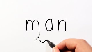 How To Draw A Man From The Word Man - Wordtoons Cartoon Drawing